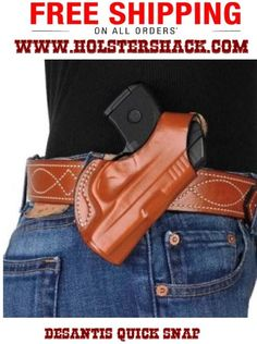 """Back by popular demand, the Quick Snap(TM) features a one way snap on belt loop for easy on and off, and precise molding. It will accommodate belts up to 1 1/2"""" wide. The Quick Snap(TM) is available in premium black or tan saddle leather."""