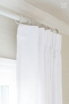 When hanging drapes and curtains have you ever been frustrated that they don't hang as nicely as you envisioned. If so, you may want to try these tricks and tips Ikea Curtains, Coastal Curtains, Window Curtains, Easy Curtains, Bedroom Curtains, Silk Drapes, Drapes And Blinds, Curtains With Rings, Curtain Rings With Clips