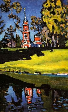 1908, Ahtyrka. Red Church. From 1908 Vasily Kandinsky often stayed in the town of Murnau in upper Bavaria, where his companion Gabriele Münter bought a house in 1909. The motif of the church in a landscape recurs often in Kandinsky's paintings of 1908–13. In examples of 1908–09 the particular design of the Murnau church makes identification possible, though the local topography may not be accurately reflected.