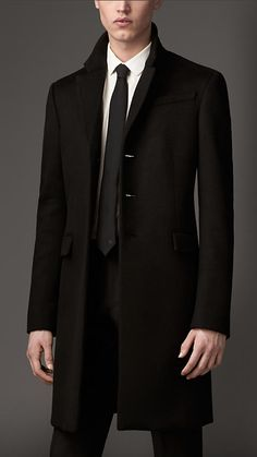 Cashmere Chesterfield | Burberry | $4795 | Black | 39438311 | Don't look at his vampire fingernails. yuck.