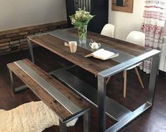 Steel and Reclaimed Wood Dining Set. Steel Dining Table, Dining Room Table, Dining Set, Industrial Style Kitchen, Industrial Table, Industrial Furniture, Painted Coffee Tables, Modern Bench, Wood Beams