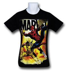 Images of Spiderman Wolverine Team-Up Black T-Shirt