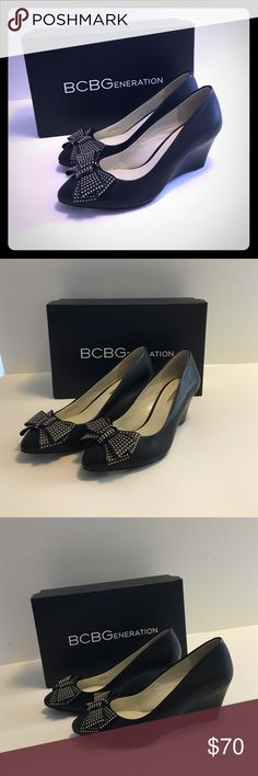 NEW BCBG wedge heels with cute bow detail  NEW BCBG wedge heels in black matte with cute bow on toe of shoe  bow has gold detailing! New never worn. SIZE 7.5. No flaws. No trades please. BCBGeneration Shoes