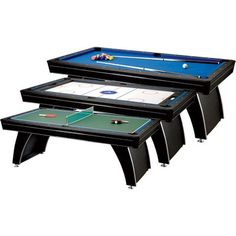 Fat Cat Phoenix 7-Foot 3-in-1 Billiard, Slide Hockey, and Table Tennis Table. Comes with billiard balls, two billiard cues, chalk, plastic triangle, table tennis net and posts, two table tennis rackets, two hockey pushers, and two pucks