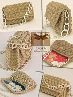 Beautiful Crochet Ideas With Free Patterns - Diy Home Decor Col Crochet, Crochet Pouch, Crochet Diy, Crochet Crafts, Crochet Stitches, Crochet Projects, Crochet Patterns, Crochet Bags, Crochet Ideas