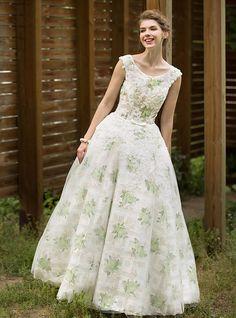 A-vonalú Földig érő Tüll Esküvői ruha val vel Rátétek Pántlika   szalag  Csokor Gomb a78ef40965