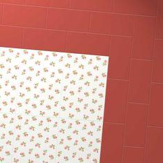 Harvey Maria Little Bricks luxury vinyl tiles in Venetian Red in a basket pattern creating a border around Cath Kidston White Roses design floor.
