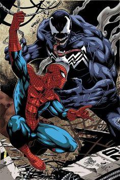 Pencil: Marcio Abreu Colorist: Laurent Logicfun [link] Digital ink and color with photoshop Spiderman vs Venom colors Comic Book Artists, Comic Book Characters, Marvel Characters, Comic Character, Comic Books Art, Comic Art, Character Design, Marvel Villains, Amazing Spiderman