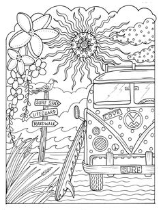 5 pages Beachy Escape coloring Digital color pages Shells ocean surf tiki dolpjins palm trees instan Summer Coloring Pages, Printable Adult Coloring Pages, Cute Coloring Pages, Mandala Coloring Pages, Coloring Pages To Print, Coloring Books, Coloring Pages For Adults, Ocean Coloring Pages, Free Coloring Sheets