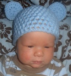 Super Cute Bear Beanie CrochetedGreat Photo by LoomedWithLove, $9.95
