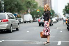 One of our faves from the streets of new york. those sheer tops are so great for transitioning between seasons