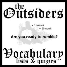 THE OUTSIDERS Vocabulary List & Quiz w/ Answer Keys (by S