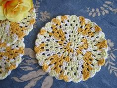 """Here isa new """"granny round"""" crochet dishcloth pattern. I call it granny round because the stitches are so like the granny squares, but..."""