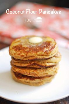 Coconut Flour Pancakes ~ I halved the recipe, added some coconut sugar and a little bit of almond milk. Little drizzle of honey instead of the maple syrup. Greek Yogurt Pancakes, Coconut Flour Pancakes, Thm Pancakes, Applesauce Pancakes, Waffles, Healthy Food Blogs, Healthy Desserts, Healthy Recipes, Healthy Breakfasts