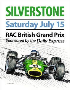 """Faux"" 1967 British Grand Prix poster 16""x 20"" edition of 50 © Paul Chenard 2015"