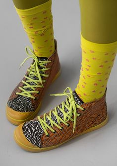 """""""Joyce"""" cotton basketball boots – Tillbehör – GUDRUN SJÖDÉN – Webshop, mail order and boutiques   Colourful clothes and home textiles in natural materials."""