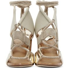 Jimmy Choo Khaki Leather and Canvas Henni Heels ($890) ❤ liked on Polyvore featuring shoes, laced up shoes, lace up shoes, canvas shoes, canvas footwear and block heel shoes