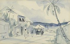 ALFRED BIRDSEY, Bermuda, 1912-1996, Seaside village street with figures and horse drawn cart., Watercolor, 12½' x 19½'. Framed and m...