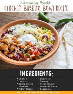 Welcome to my Slimming World Chicken Burrito Bowl Recipe via the Instant Pot. Delicious succulent chunks of chicken with a spicy Mexican marinade served with a comforting salad. Slimming World Diet Plan, Slimming World Dinners, Slimming Eats, Slimming Recipes, Slimming World Chicken Recipes, Slimming World Lunch Ideas, Sp Days Slimming World, Chicken Burrito Bowl, Chicken Burritos