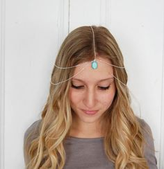 Gypsy Hair Chain/ Necklace. Silver tone with Turquoise