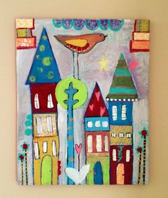 Whimsical house painting 16 x 20 canvas, love joy happy. $145.00, via Etsy.