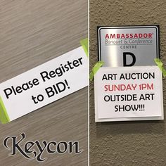 Remember the art auction is this afternoon at 1pm outside Ambassador D. Art auction closes at noon SHARP! #keycon 35