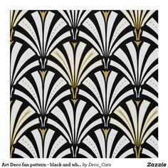 Art Deco fan pattern - black and white Fabric | Zazzle