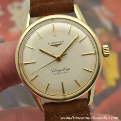 "A 1960 Vintage Longines ""Flagship"" timepiece. This example features a 14K yellow gold shell over a stainless steel watch case, a silver dial with applied, yellow gold bar markers, and a 27-jewel, automatic caliber 380 movement. The Longines... #longines #flagship #automatic #simple #timeonly #round #case #cool #watch #vintage #watches #classic #wristwatch #stawc"