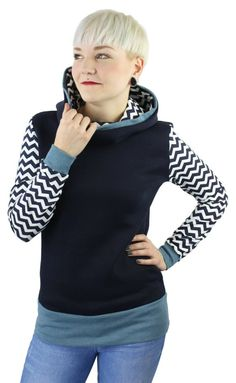 ladies streetwear hoodie, blue white, cotton, hooded sweater, handmade  Berlin, german unique clothes, geometric cloth, women fashion b5941c5eb0