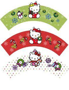 Printable Hello Kitty Christmas Cupcake Wrappers