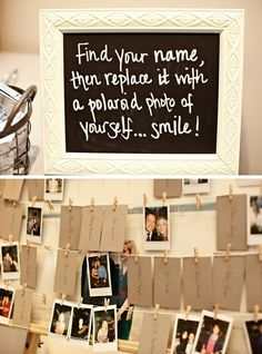 DIY Alert: Hang the place cards on a string with clothes pins. On the table below the strings, provide poloroid cameras. Have the guests take pictures of themselves and replace the place card with the picture. Really fun and a great keepsake.
