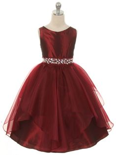 Burgundy Fabulous Taffeta and Organza Overlay with Rhinestone Waist Flower Girl Dress (Available in Sizes 2-12 in 7 Colors)