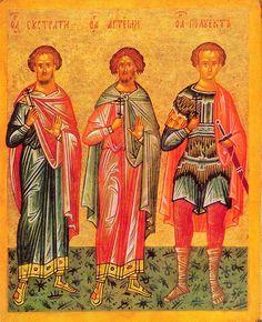 Eustratius, Artemius, Polyeuctus. Icon Tablets of Novgorod