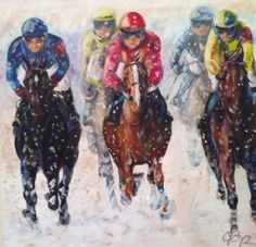 Odette Butz presents her art in St. Moritz at the famous WHITE TURF horse racings on snow at the 9./16./29. February 2014