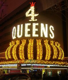 Four Queens entrance neon sign. Fremont Street Experience downtown Las Vegas by stevesobczuk, via Flickr