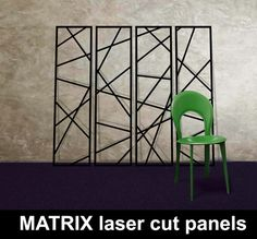 MATRIX-laser-cut-metal-panels-in-DARK-BLUE-with-GREEN-chair – laser cut screens for architectural and home interiors