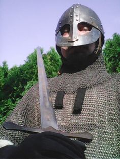 Chain Mail, Sword, Riding Helmets, Armour, Medieval, Hats, Chain Letter, Body Armor, Hat