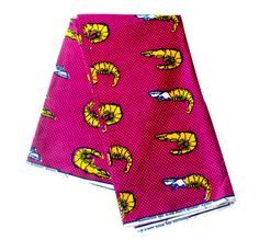 Rose et or imprimé africain / tissu Ankara / Wax Print / africain tissu / crevette / tissu de crevettes / crevettes matériel