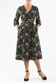 Floaty wrap styling highlights our woodland with floral print crepe dress cinched in at the waist with slim ties.