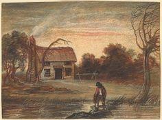 Raphael Lamar West (1769-1850) - Landscape with Farm House and Farmer near a Pond