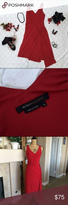 """BCBG Maxazria Lady In Red Dress Beautiful dress in red! Very Fluid and stretchy fabric drapes beautifully!! Gorgeous detail on the front. The bust measures approx 34"""" and the length is 43"""". The drape in the front is approx 47"""" in length. 69% Acetate, 23% Nylon, 8% Spandex. Dry clean only. BCBGMaxAzria Dresses"""