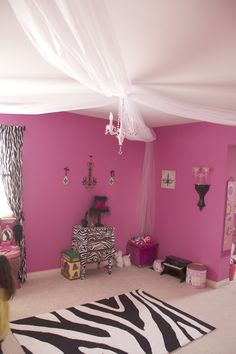 Bedroom Decor for Kassandra! Pink Bedroom Decor, Pink Bedrooms, Small Room Bedroom, Teen Bedroom, My Room, Pink Zebra Rooms, Zebra Decor, Bedroom Hacks, Welcome To My House