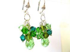 Crystal Earrings, Green Earrings, Swarovski Earrings, Cluster Earrings, Emerald, Peridot, Green - 'The Irish Kiss' on Etsy, $30.00