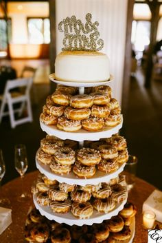 Sugar Bake Shop Mini Cake | Glazed Gourmet Donuts | Donut Wedding Cake | Glitter Mr. and Mrs. Cake Topper | Donut Display