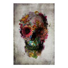 Flower Skull Art Print, Sugar Skull Poster Home Decor, Floral Skull Print Wall Art Gift, Bohemian Art Flower Skull Illustration Wall Decor Skull Wall Art, Wood Wall Art, Framed Wall Art, Capa Iphone 6 Plus, Capas Iphone 6, Art Encadrée, Floral Skull, Canvas Prints, Art Prints