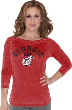 8f41c54e3 Touch by Alyssa Milano Women s Georgia Bulldogs Red 3 4 Sleeve Shirt