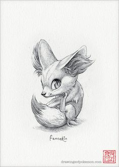 Fennekin  5 x 7 print pokemon drawing art by DrawingsofHeroes, $9.00