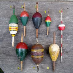 Kayak Fishing Gear bobbers--fished with my dad at pine lake as a child :) These would make a cute fishing bead bracelet Best Fishing Lures, Vintage Fishing Lures, Fly Fishing Tips, Gone Fishing, Trout Fishing, Kayak Fishing, Fishing Tackle, Fishing Poles, Fishing Tricks