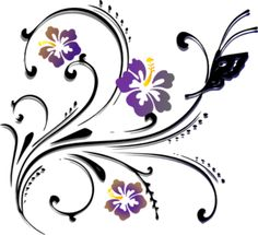 Butterfly Scroll clip art ............ exquisite for a corner embroidery / painting design !
