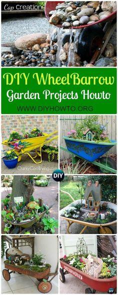 Collection of DIY WheelBarrow Garden Projects: DIY WheelBarrow Garden Planter Free Plan, WheelBarrow Fairy Garden, Wheel Barrow Garden Fountain via @diyhowto #gardenplanters